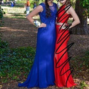 Royal Blue Beaded Top Prom Dress